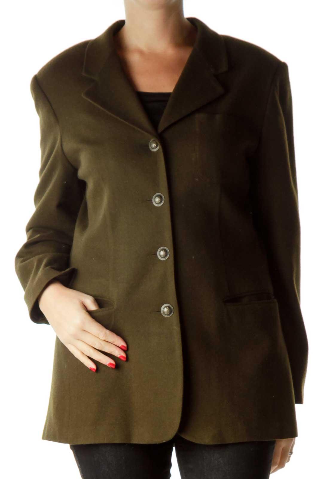 Army Green Virgin Wool Blazer Front