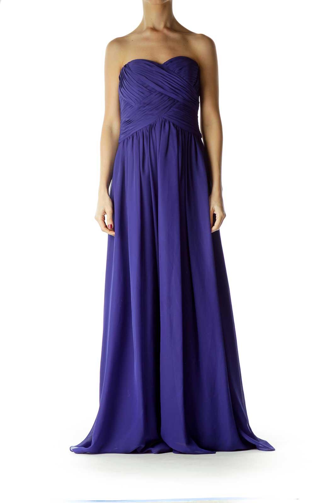 Blue Strapless Empire Waist Evening Dress Front
