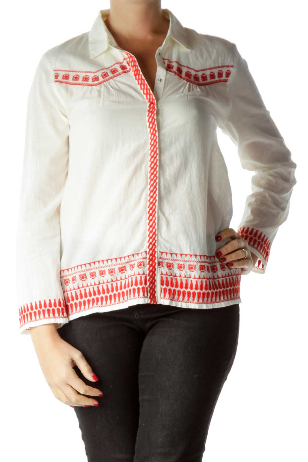 Cream Red Embroidered Shirt Front