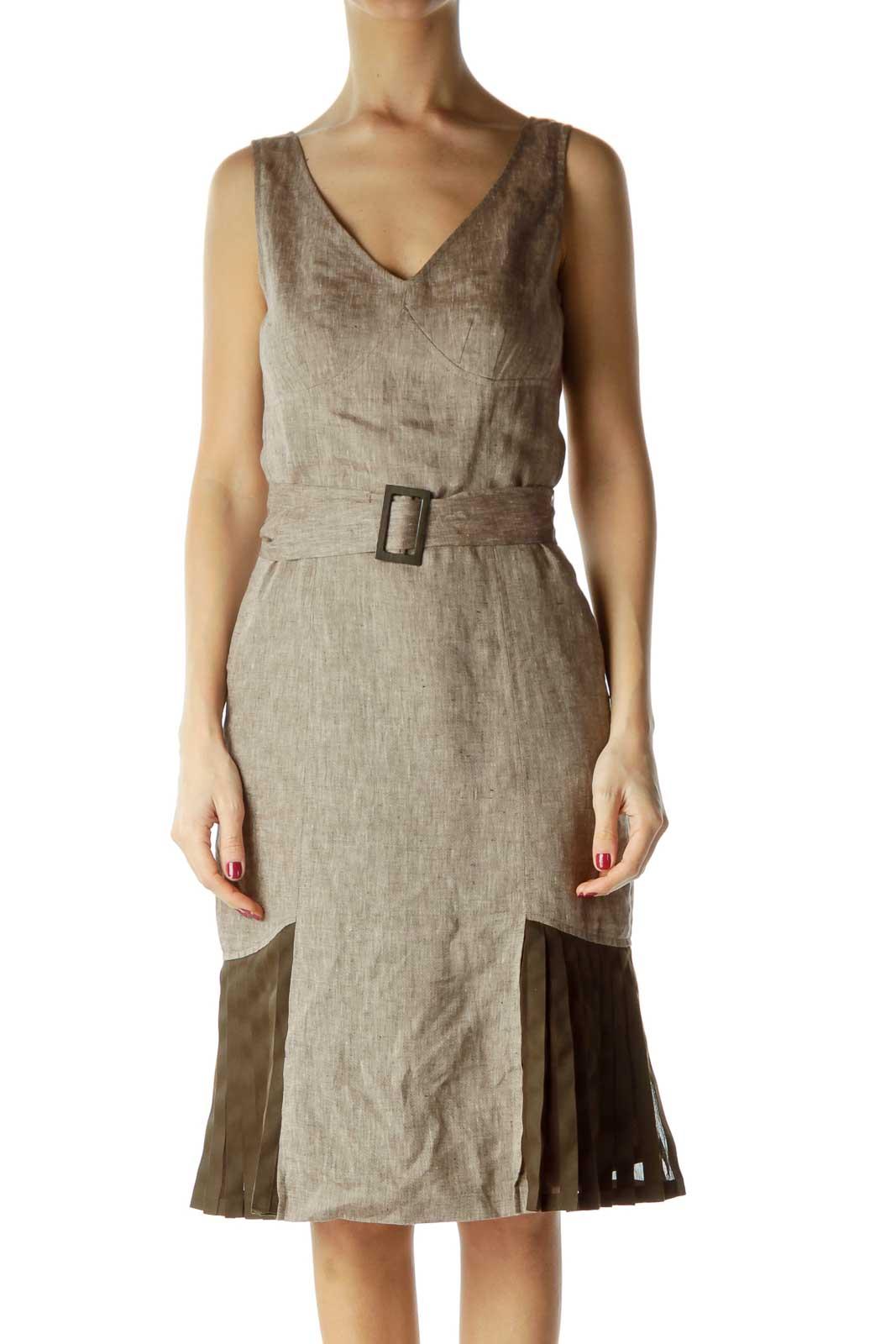 Brown Empire Waist Linen Silk Dress Front