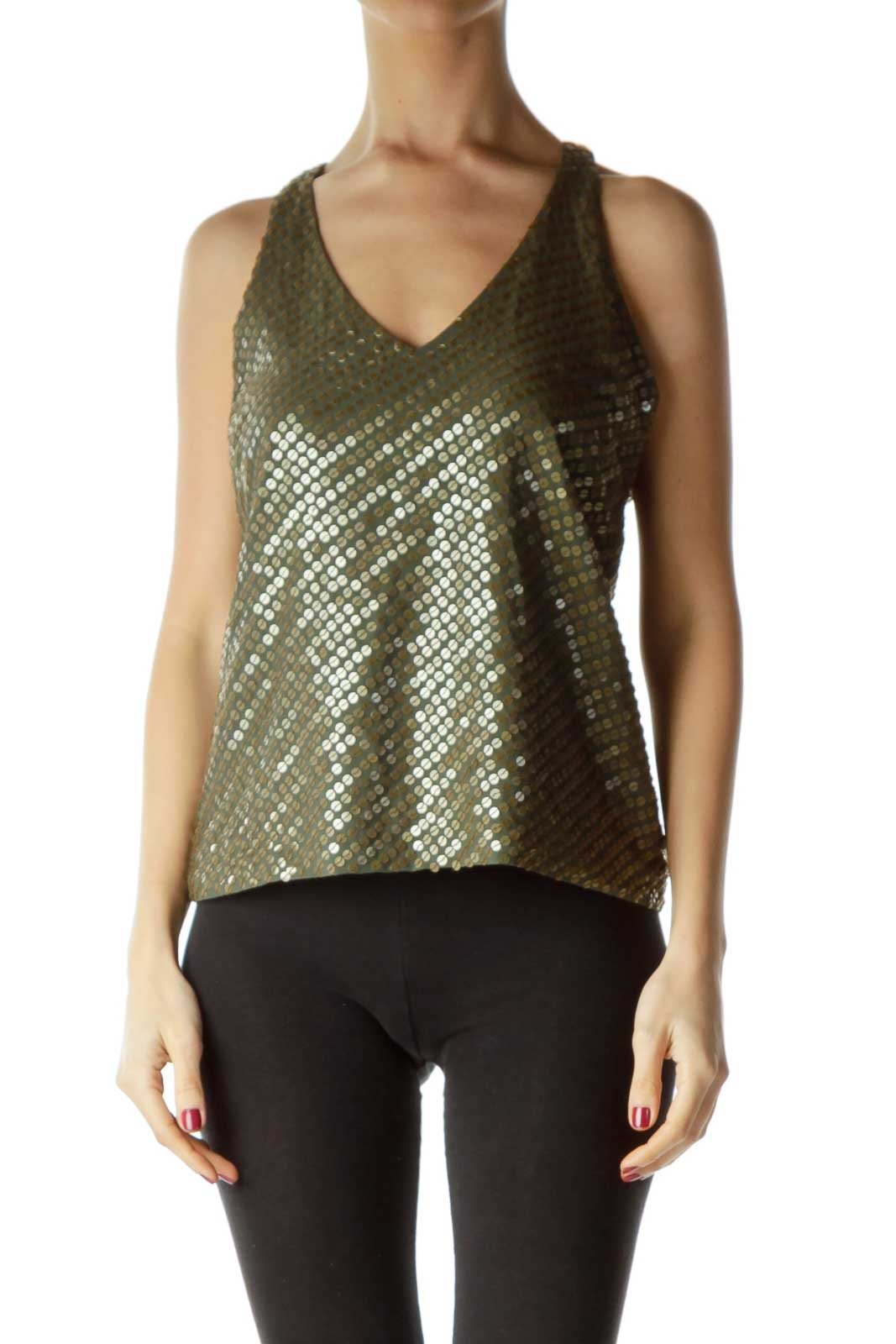 Green Gold Racerback Tank Top Front