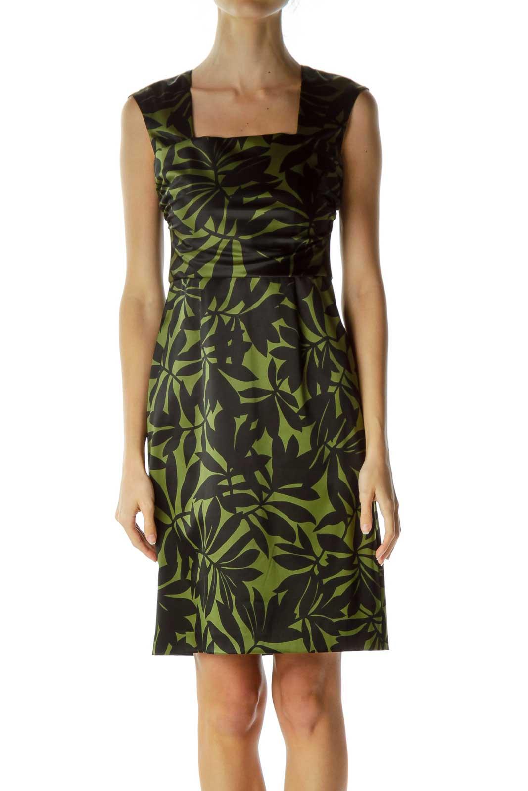 Green Leaf Print Sheath Dress Front