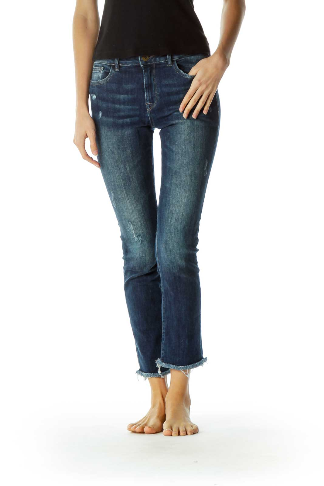 Blue Distressed Straight Leg Ankle Denim Pants Front