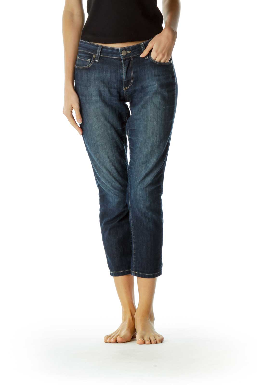 Blue Denim Straight Leg Ankle Pants Front