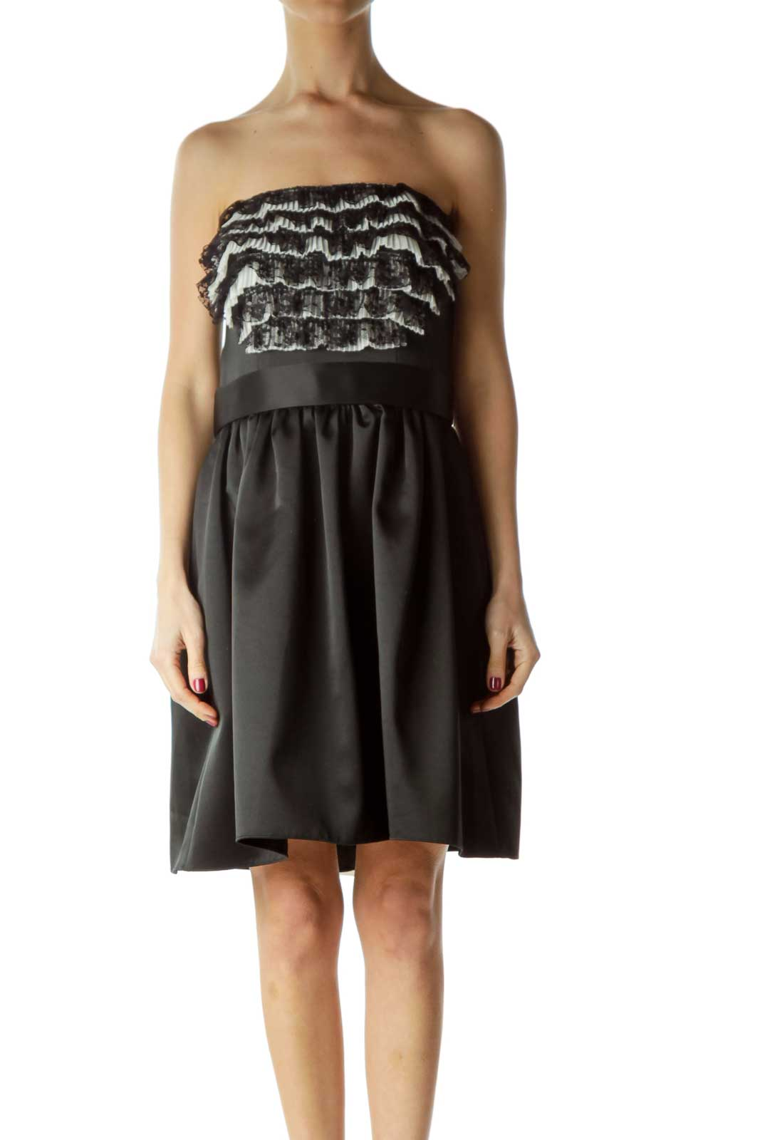 Black Chest Ruffled Strapless Cocktail Dress Front