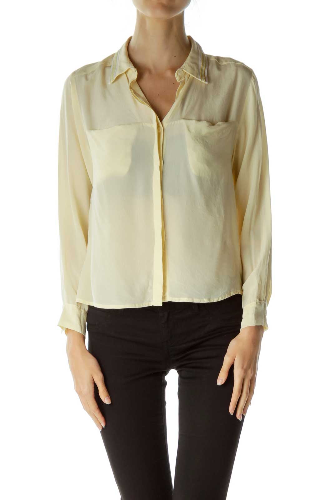 Yellow Gold Collared Long Sleeve Blouse Front