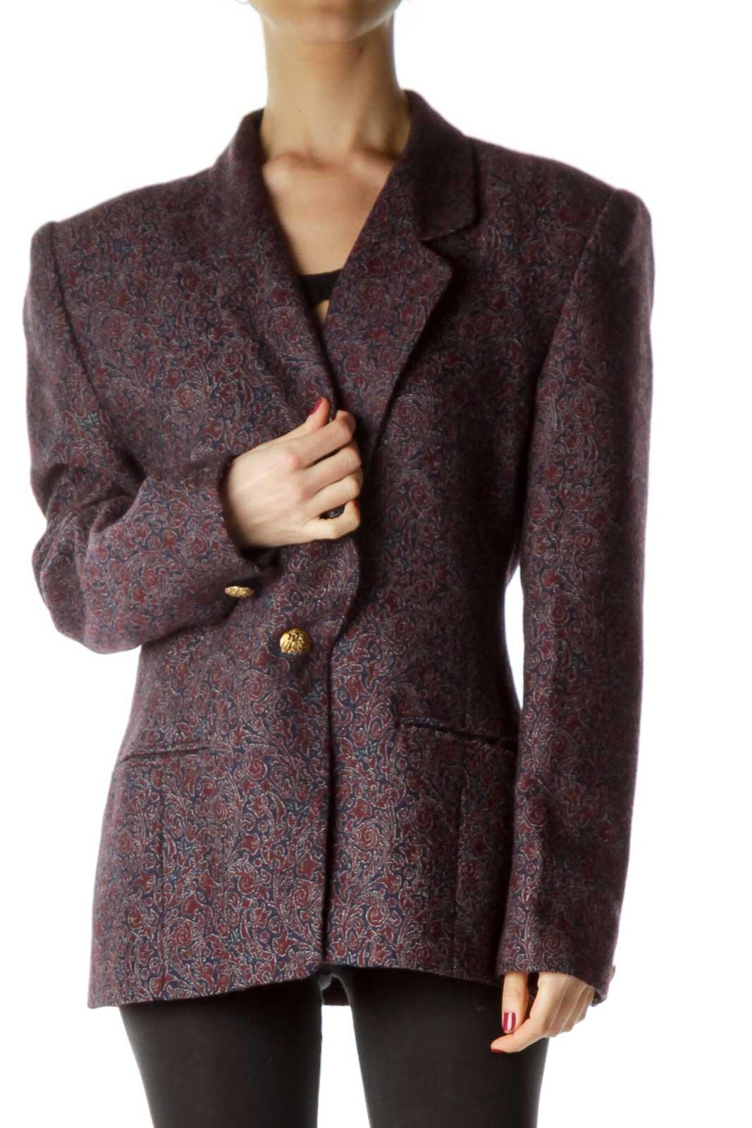 Purple Navy Paisley Print Wool Blazer Front