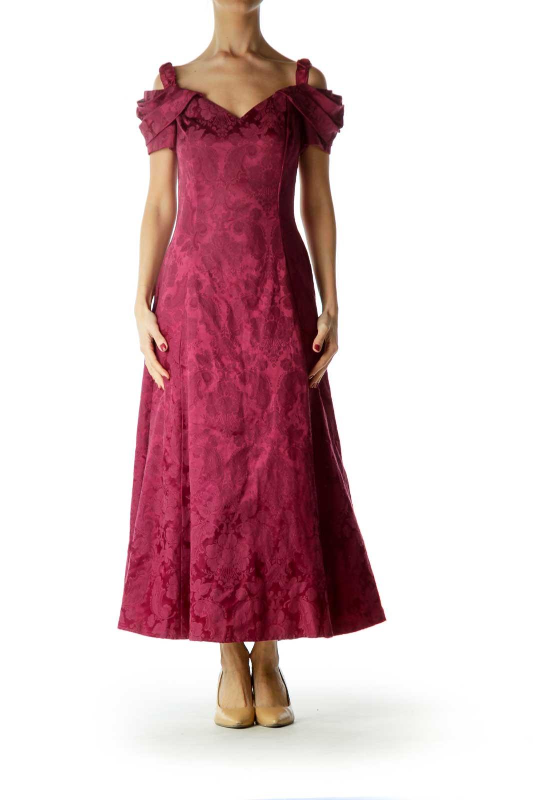 Red Off-Shoulder Tonal Print Dress Front