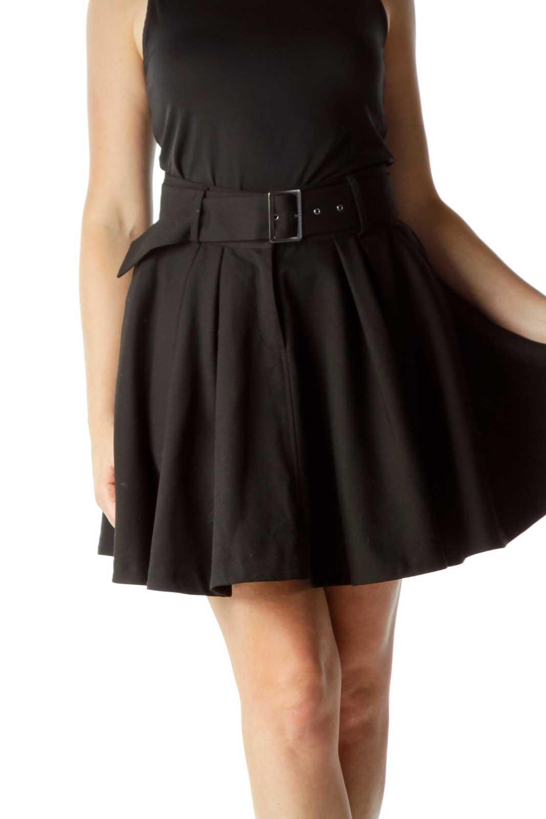 Black Belted Flared Skirt Front
