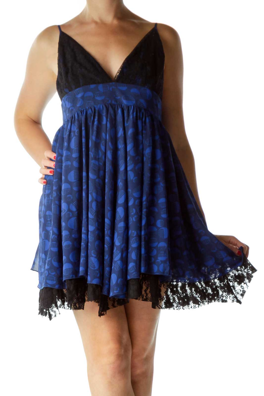 Blue Black Laced Printed Spaghetti Strap Dress Front