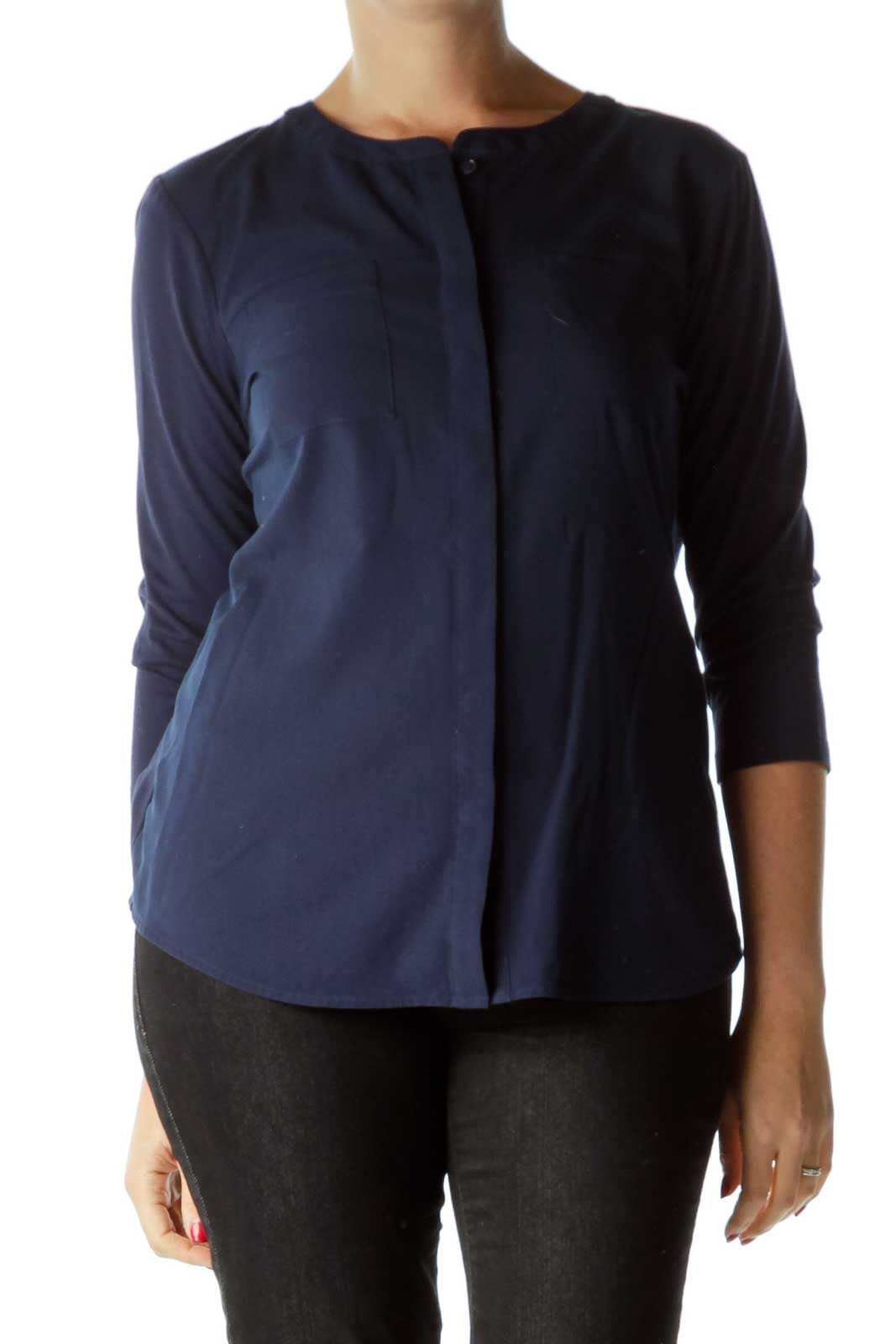 Blue Buttoned Pocketed Blouse Front