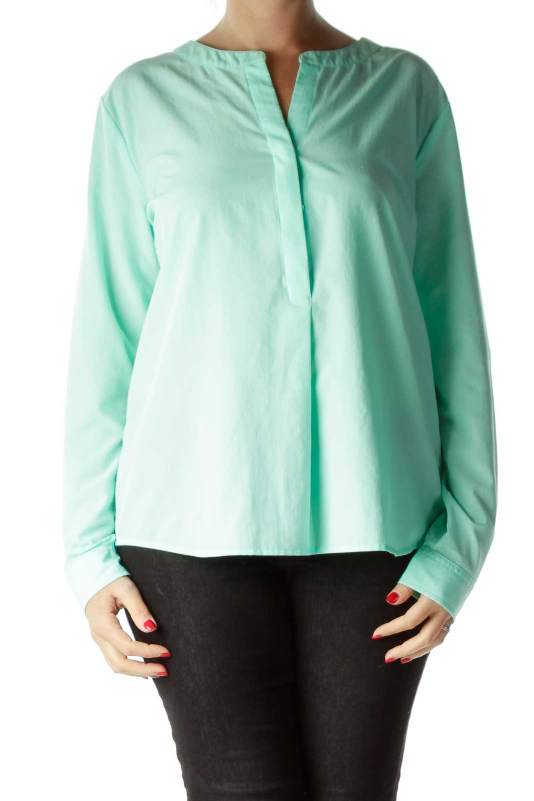 Green Buttoned Crew Neck Blouse Front