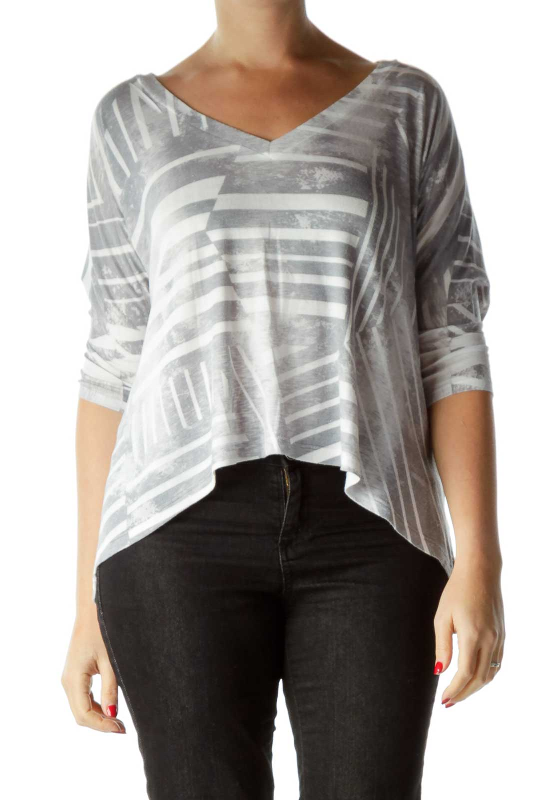 Gray White Bat-Sleeve Blouse Front