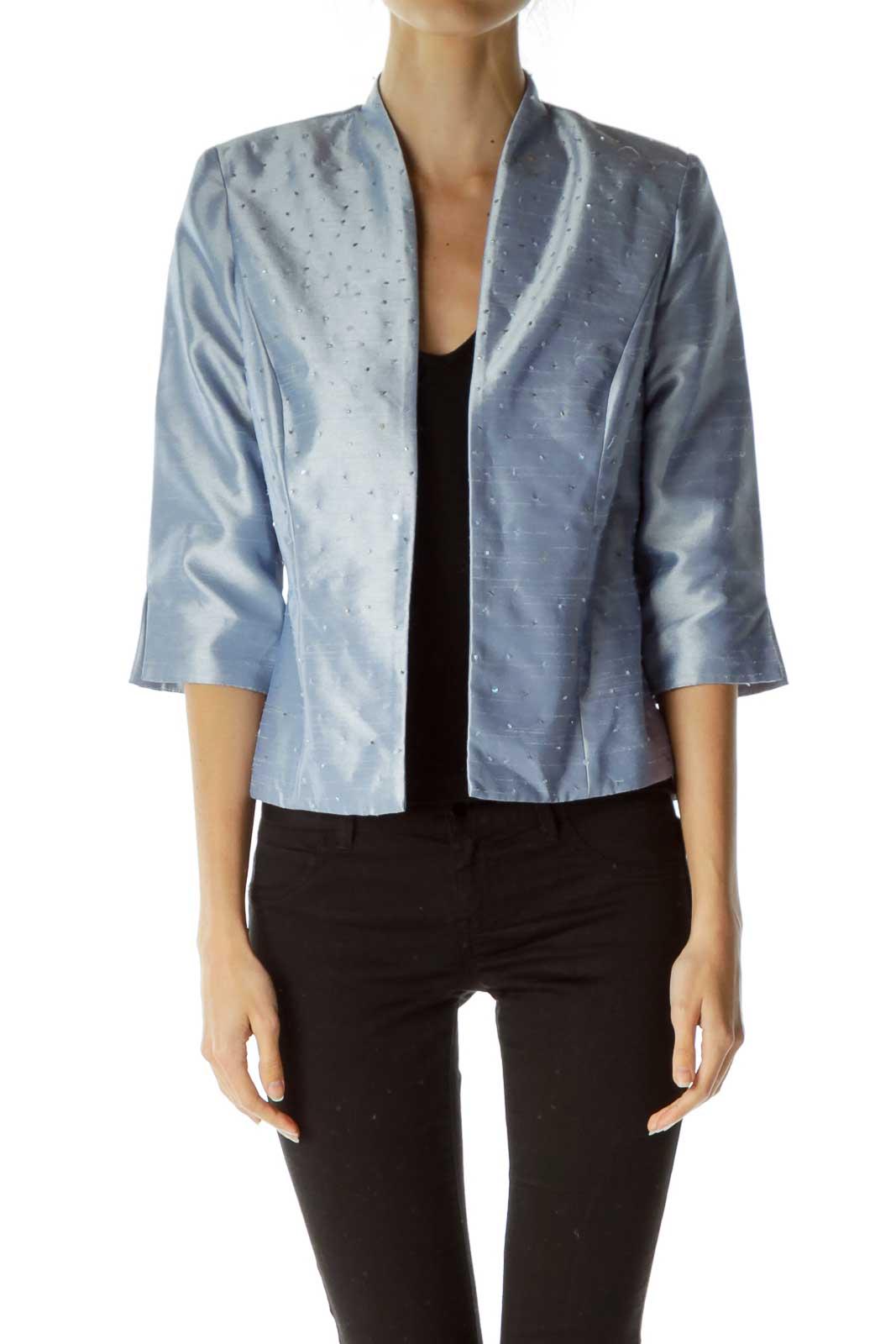 Blue Metallic 3/4 Sleeve Blazer Front