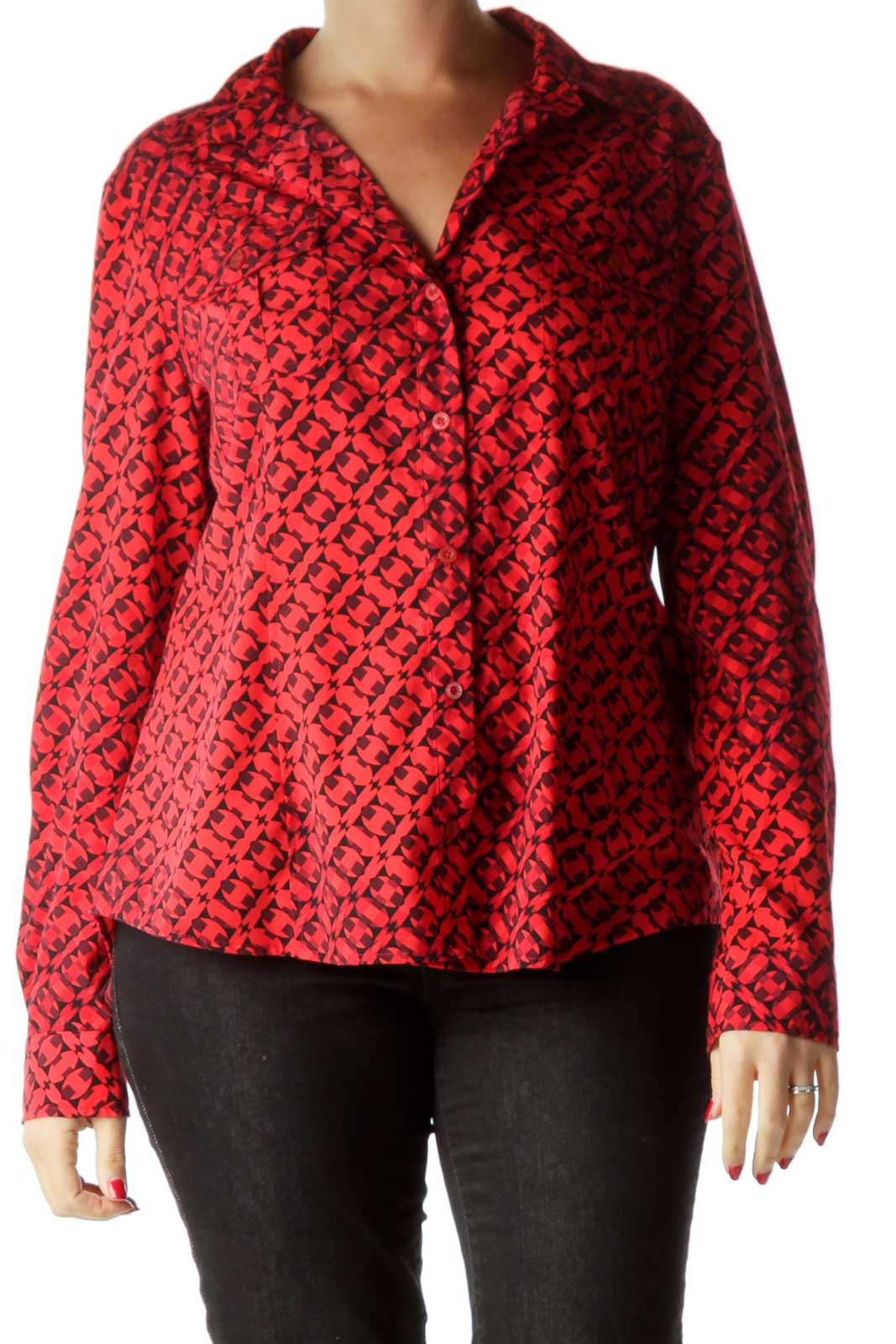 Black and Red Printed Long Sleeve Shirt Front
