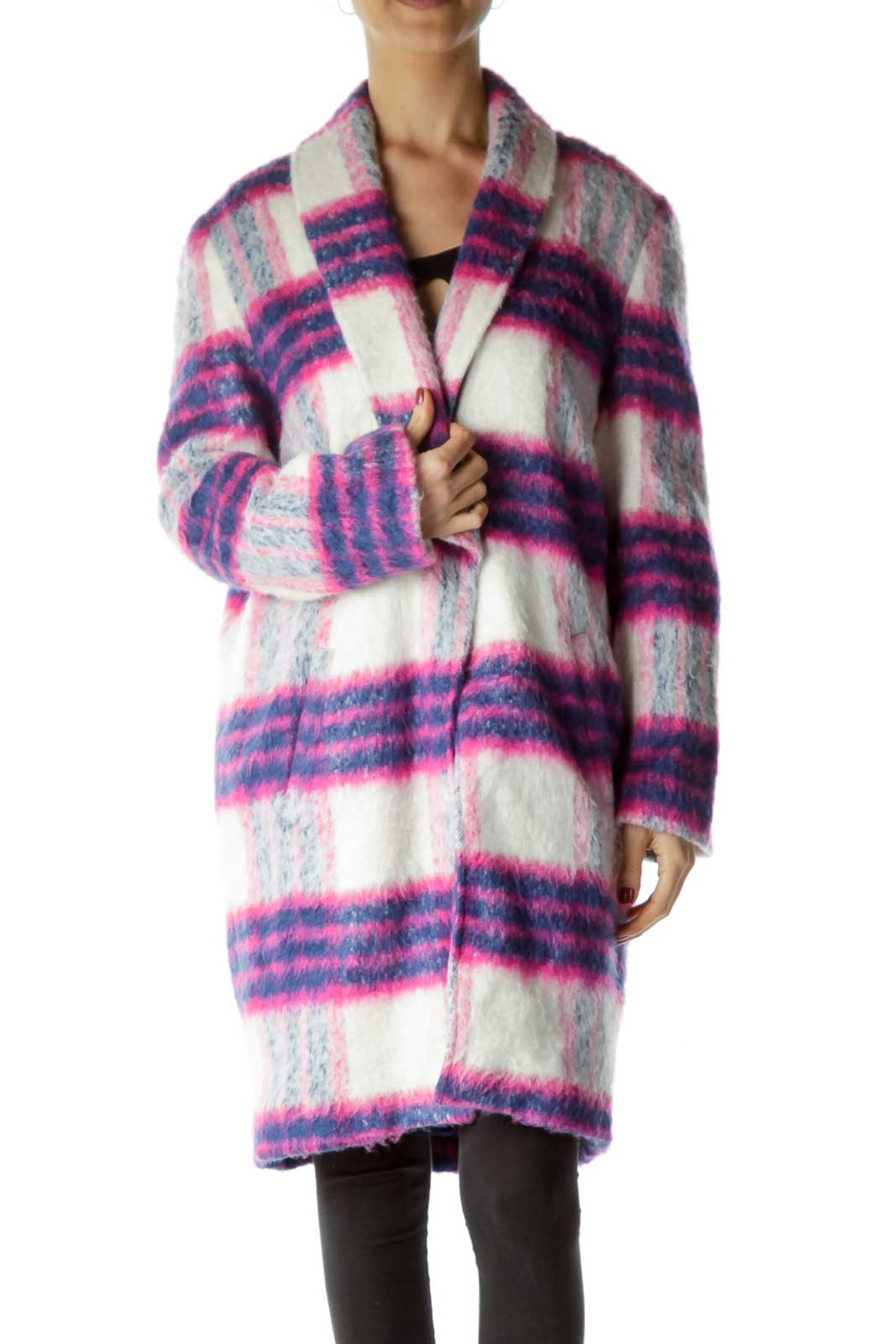 Pink Blue White Plaid Oversize Coat Front