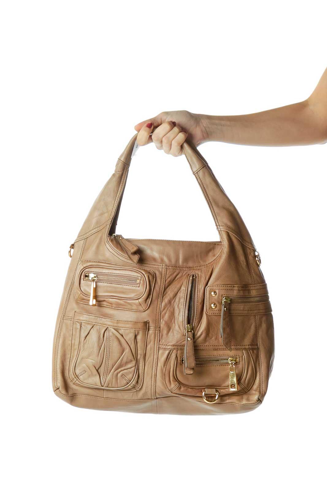 Beige Pocketed Hobo Leather Shoulder Bag Front