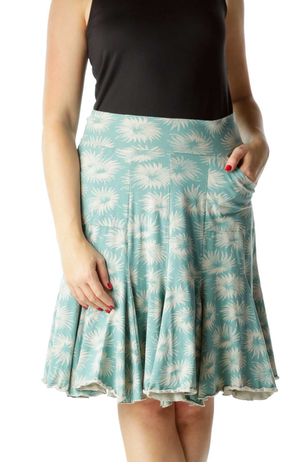 Blue Beige Printed A-Line Stretchy Skirt Front