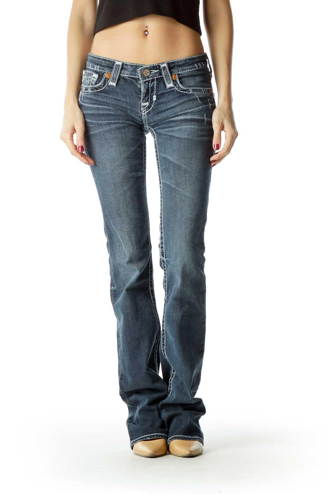 Blue Medium-Wash Stitched Flared Jeans Front
