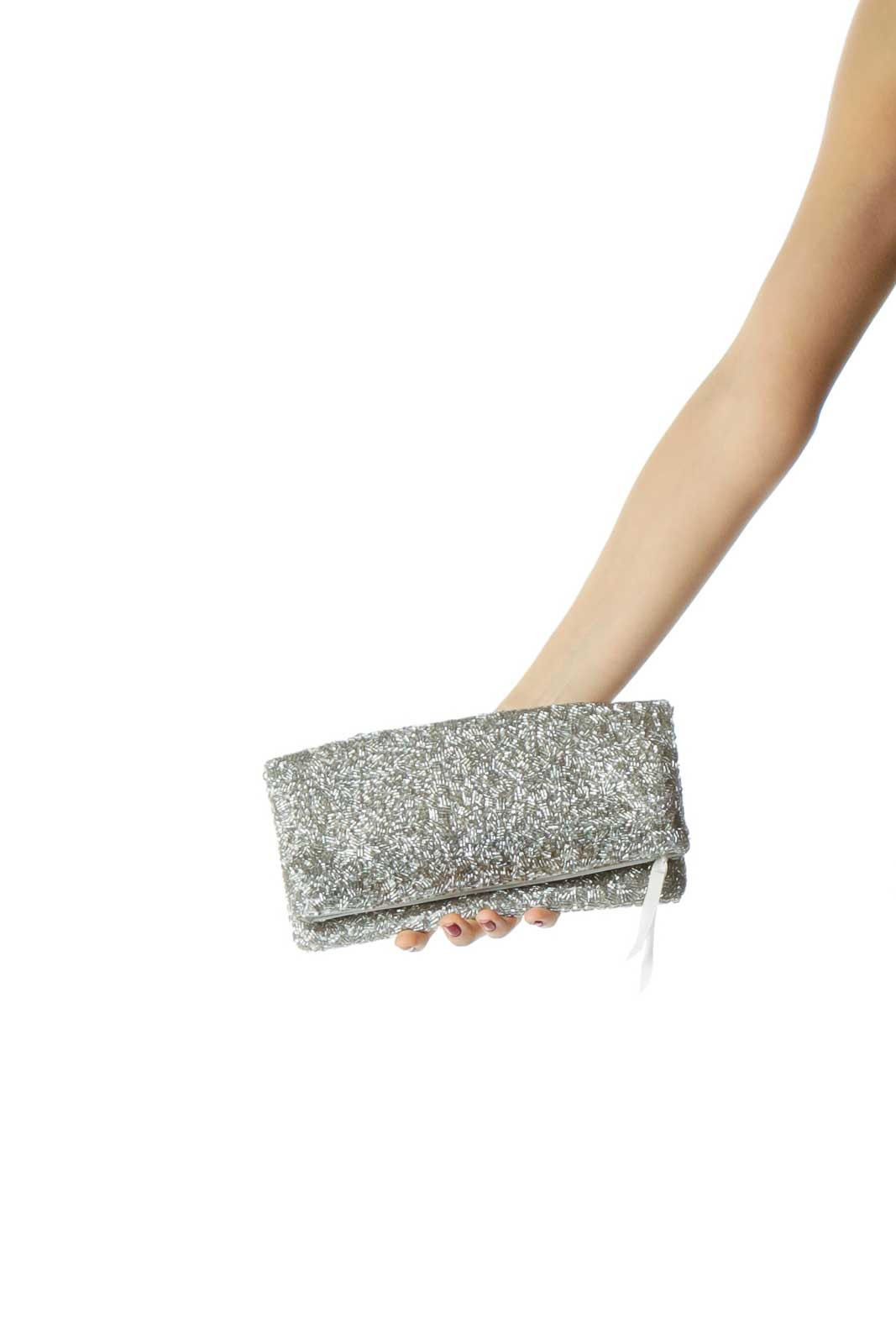 Silver Sequined Clutch Front