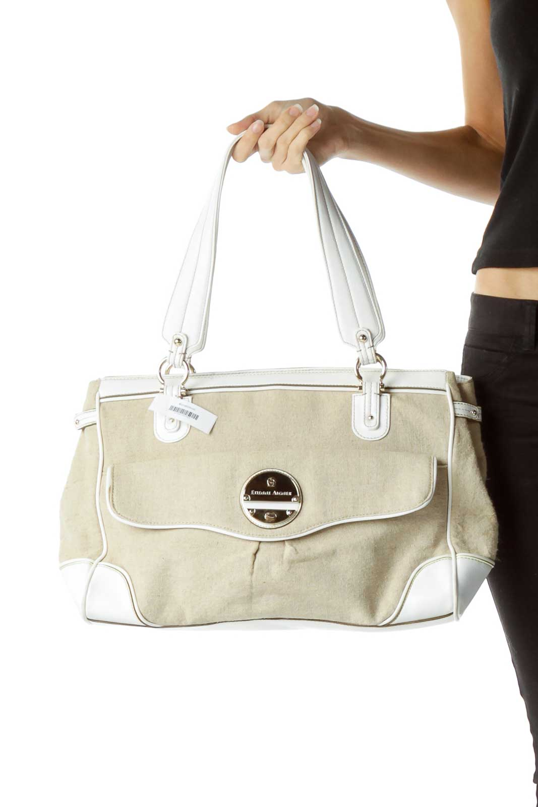 Beige Linen White Leather Handle Tote Front