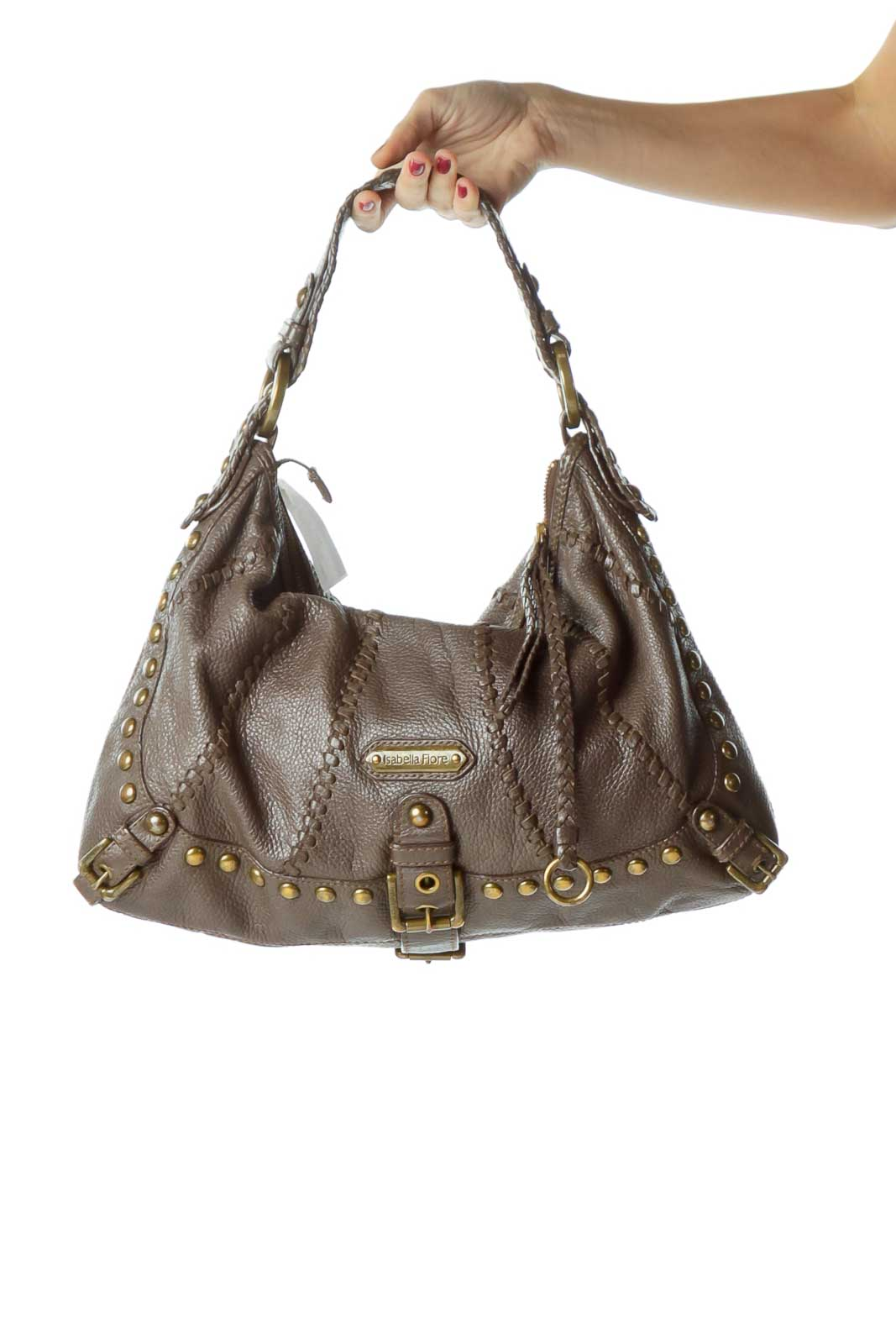Purple Studded Woven Leather Bag Front