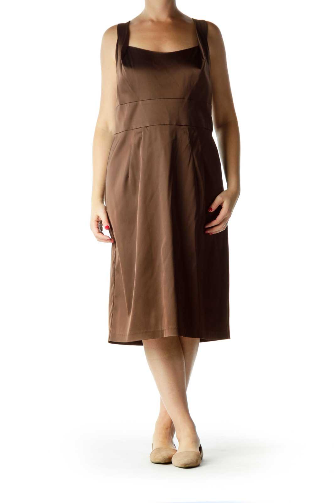 Brown Sleeveless Work Dress Front