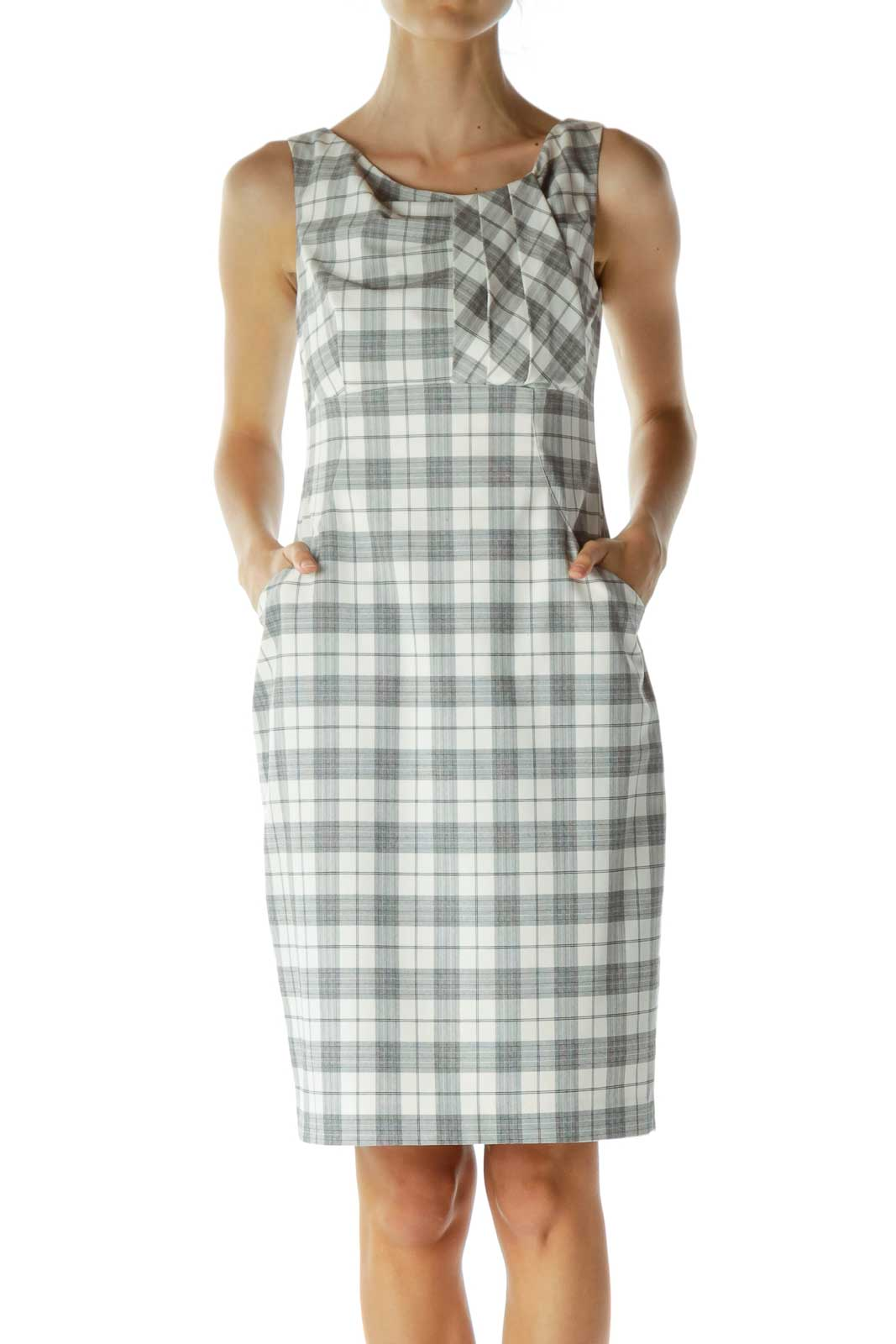 Black and Cream Plaid Work Dress Front