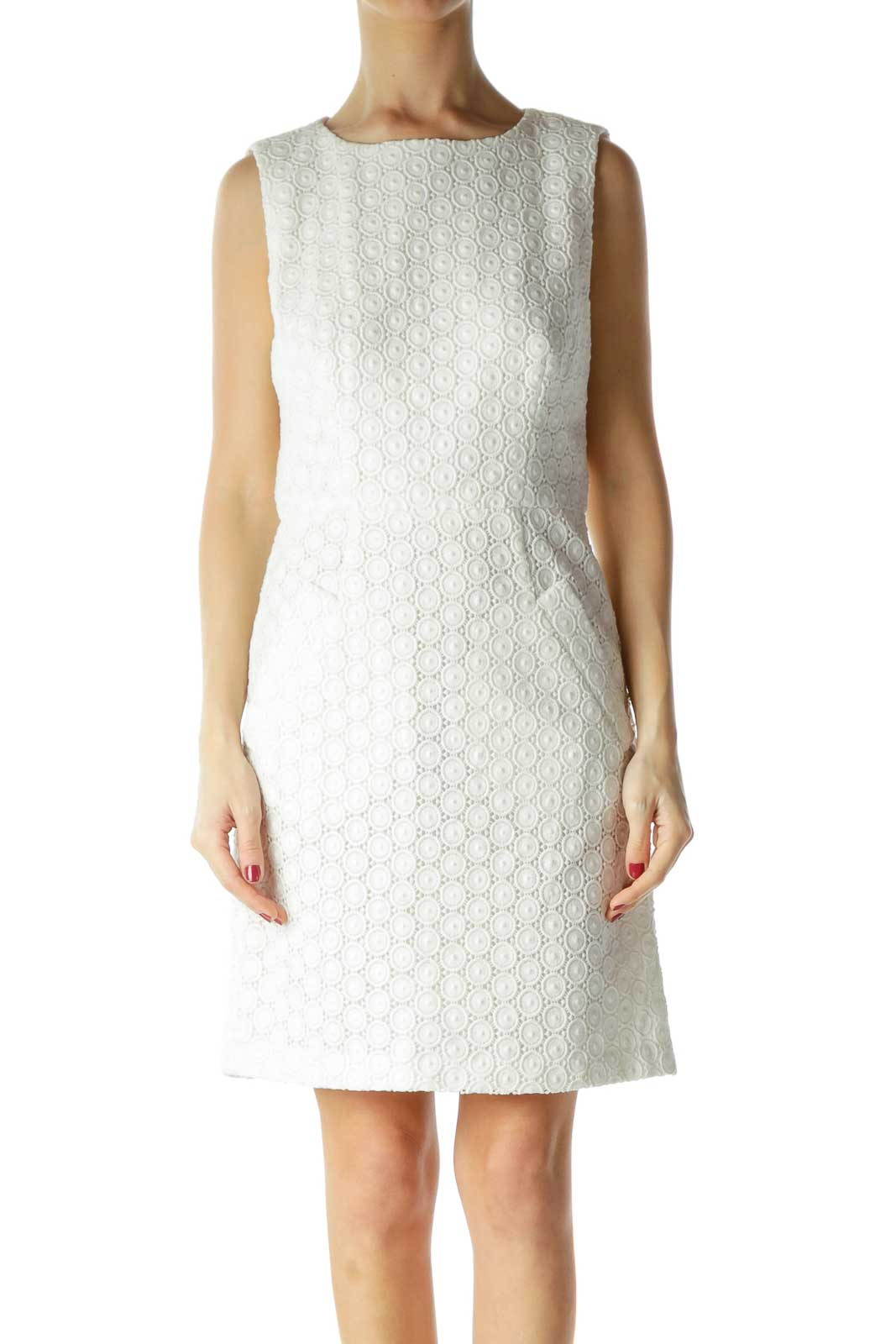 White Slightly Metallic Knit Dress with Pockets Front