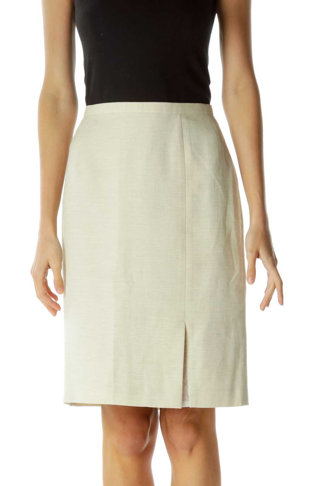 Cream A-Line Skirt with Sheer Slit Front