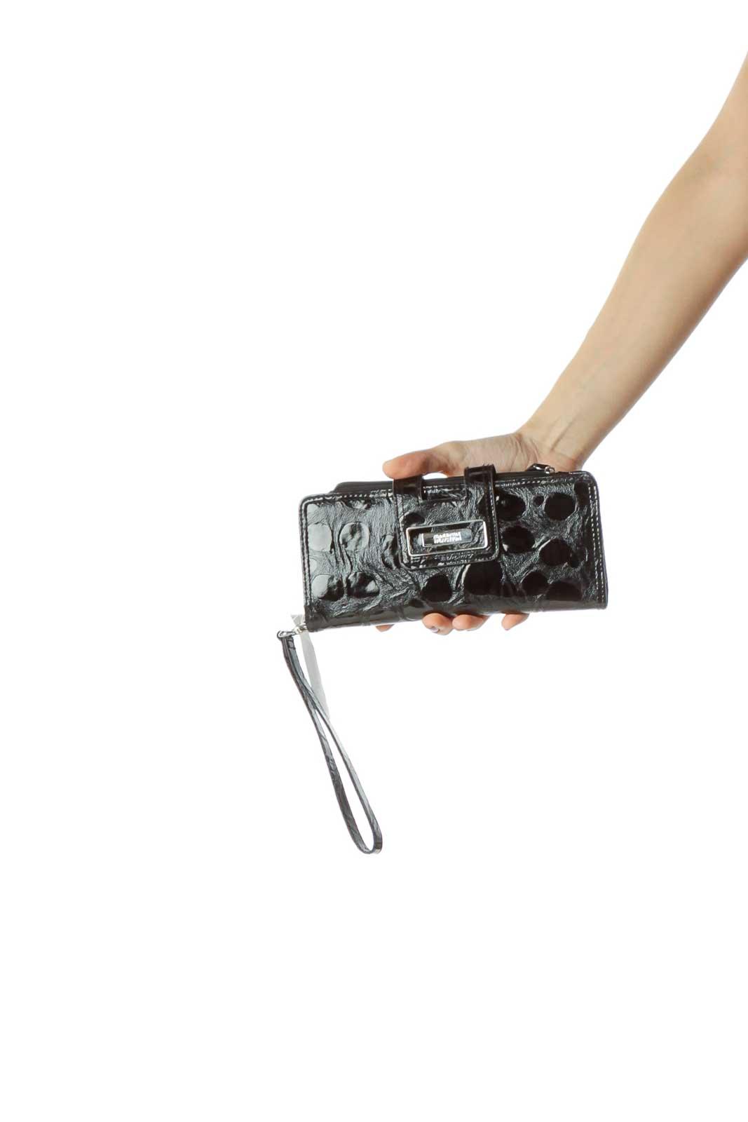 Black Patent Textured Wristlet Front