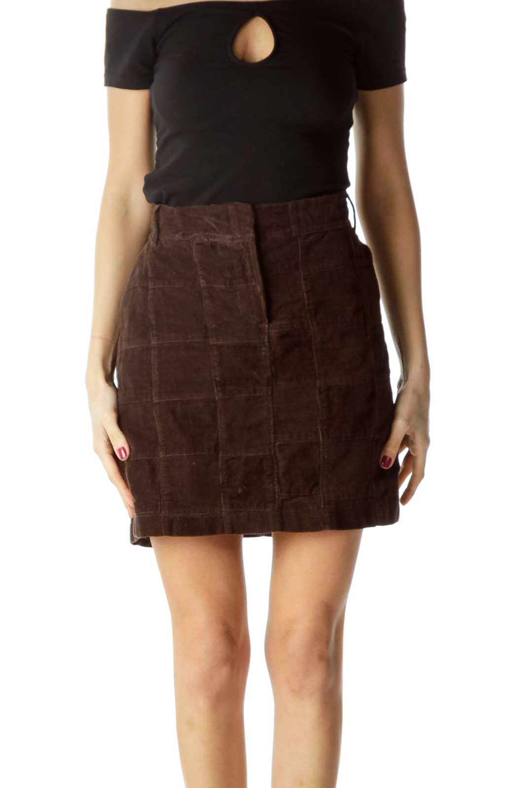 Brown  100% Cotton Corduroy Checkered Skirt Front