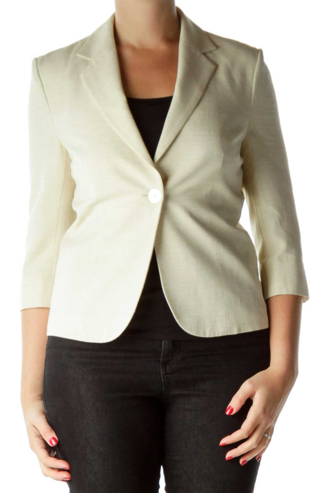 Cream Textured 3/4 Sleeve Jacket Front