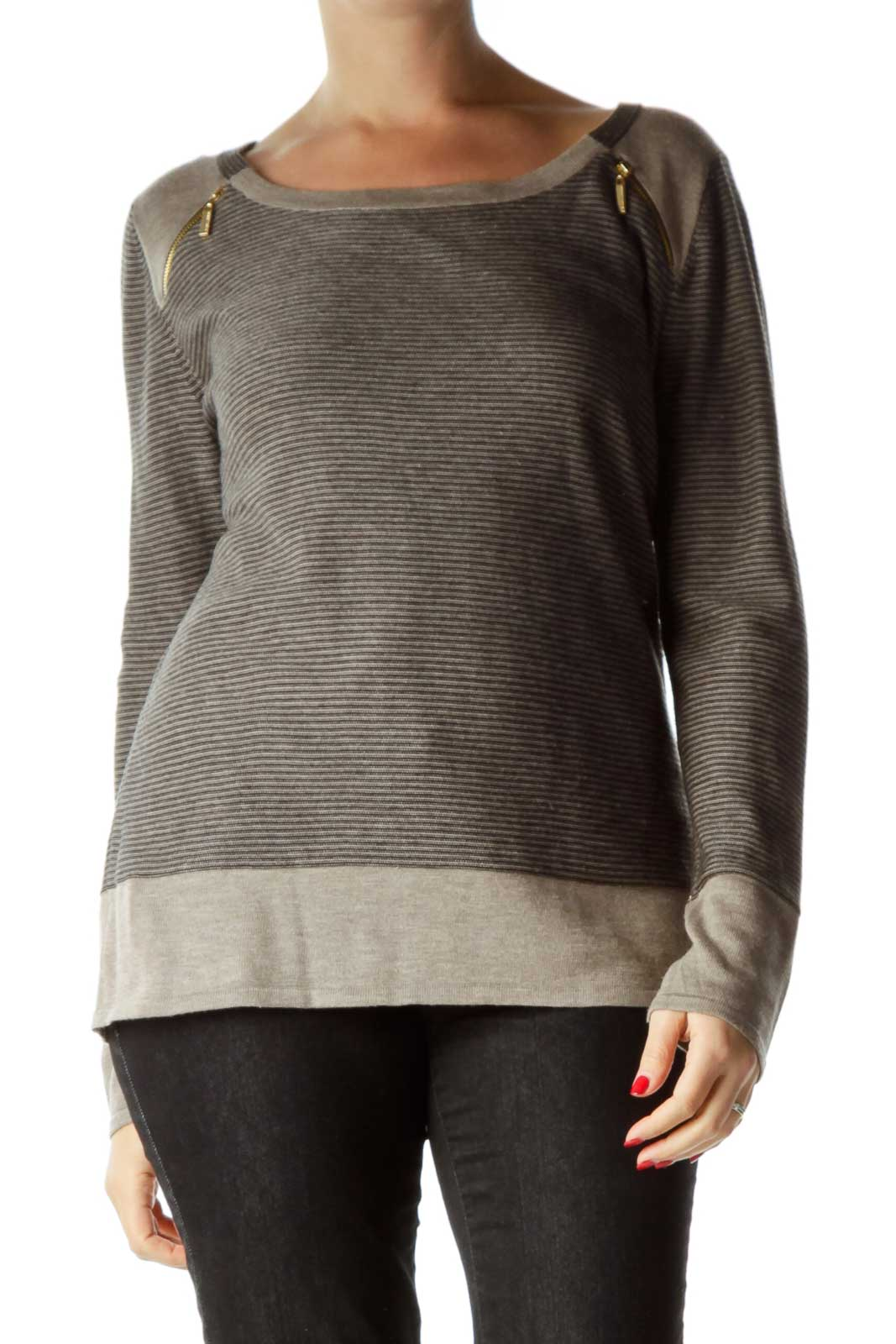 Brown Zipper Detailed Striped Top Front