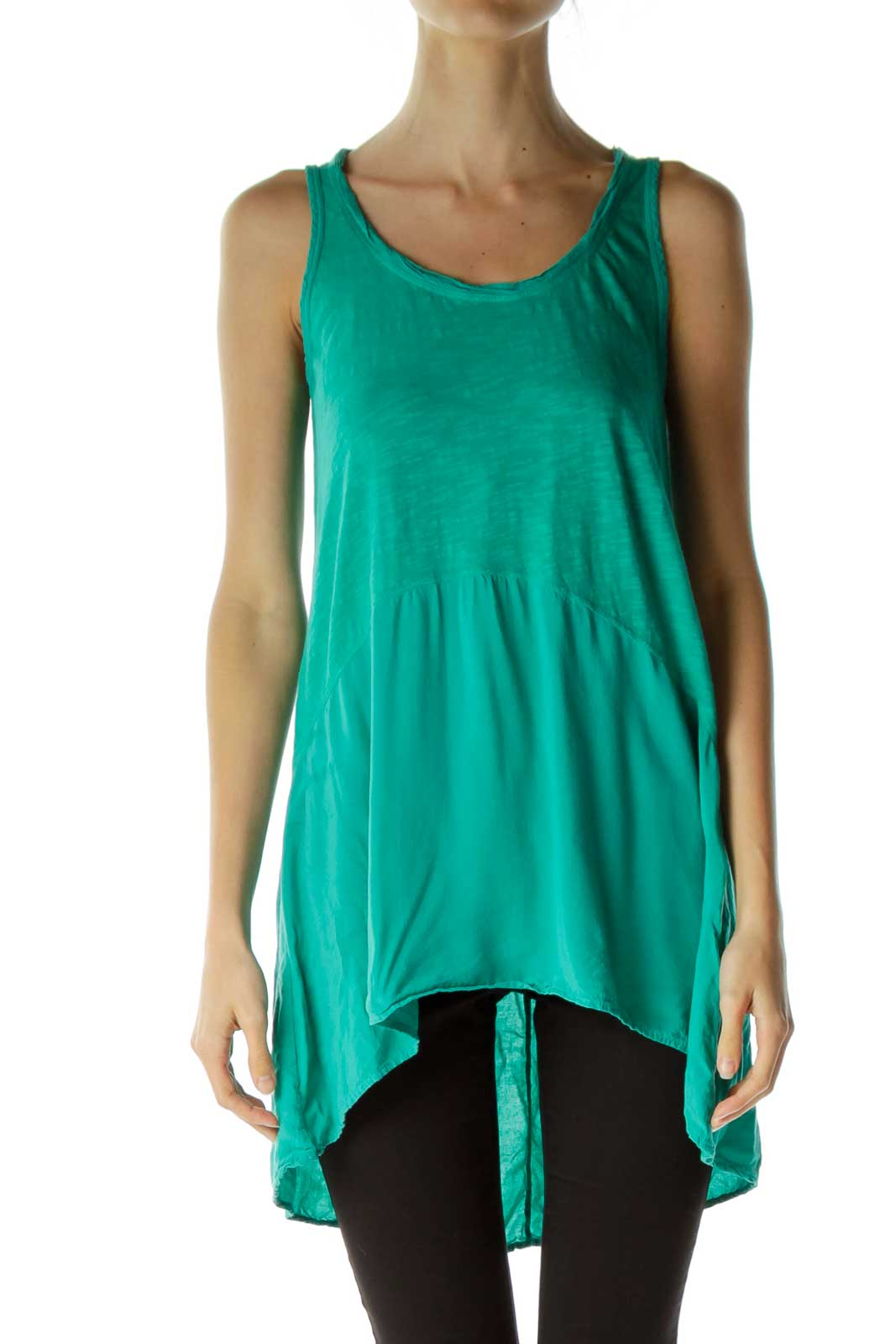 Green Sleeveless Top Front