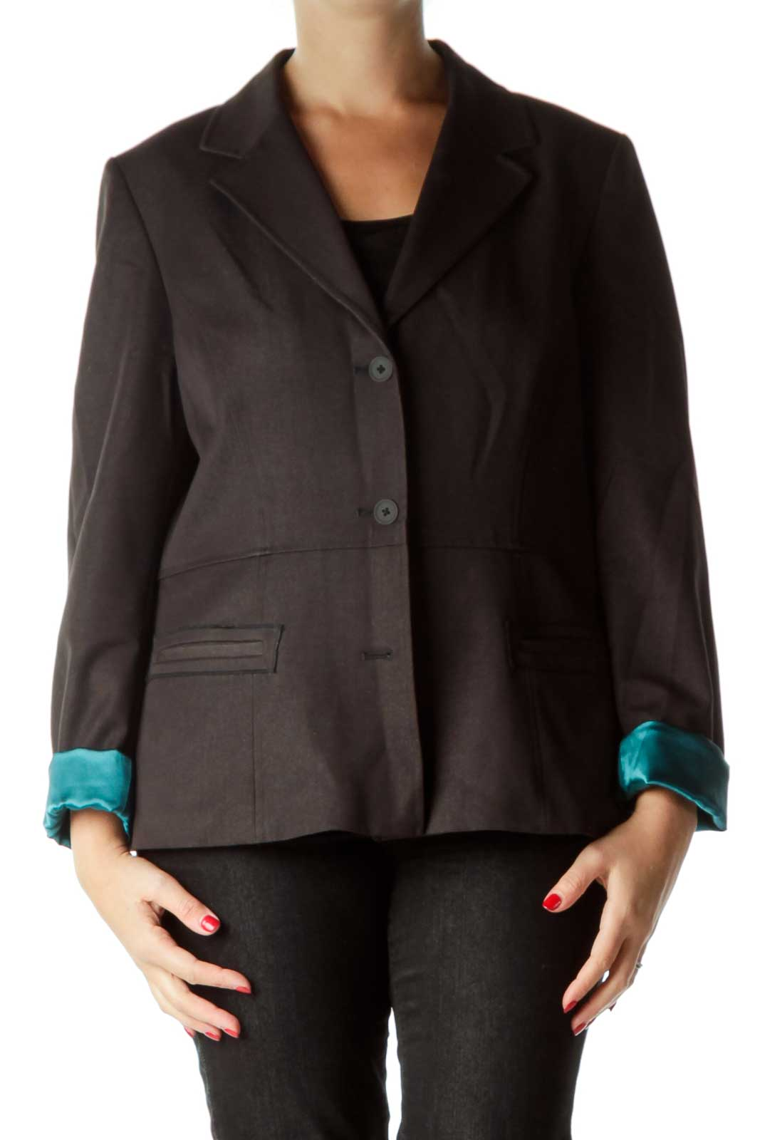 Black Suit Jacket with Teal Lining Front