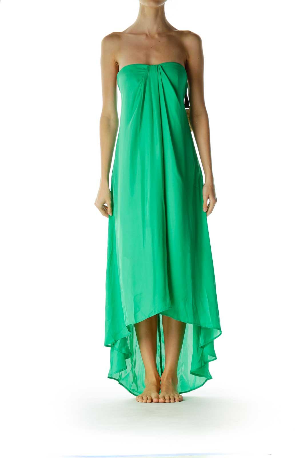 Green Strapless Maxi Dress Front