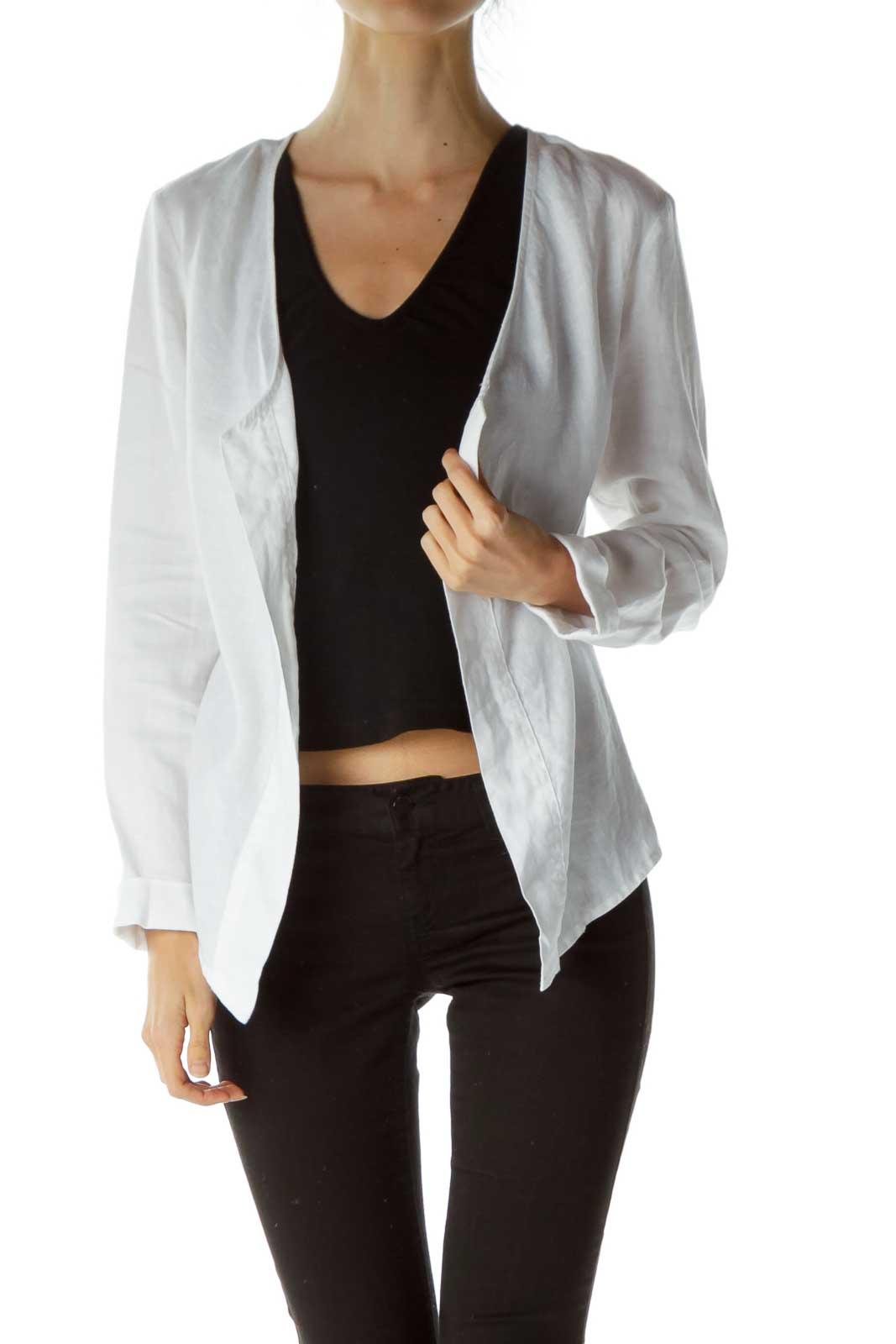 White Open Linen Jacket Front