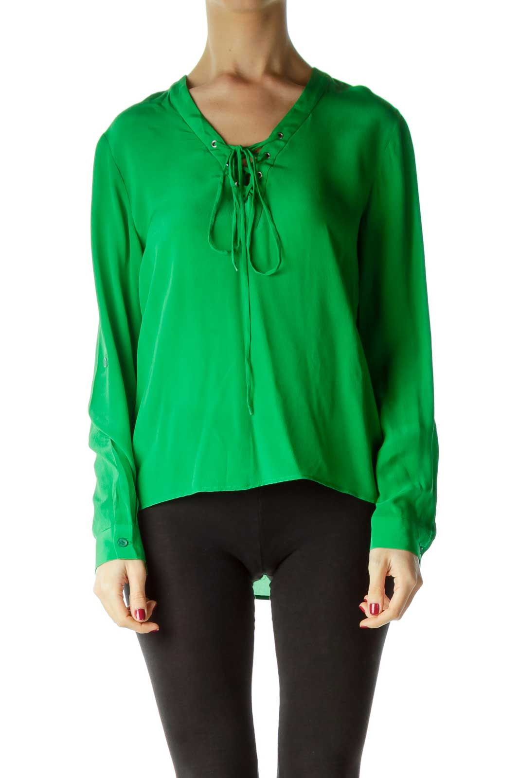 Green Tie Front Silk Blouse Front