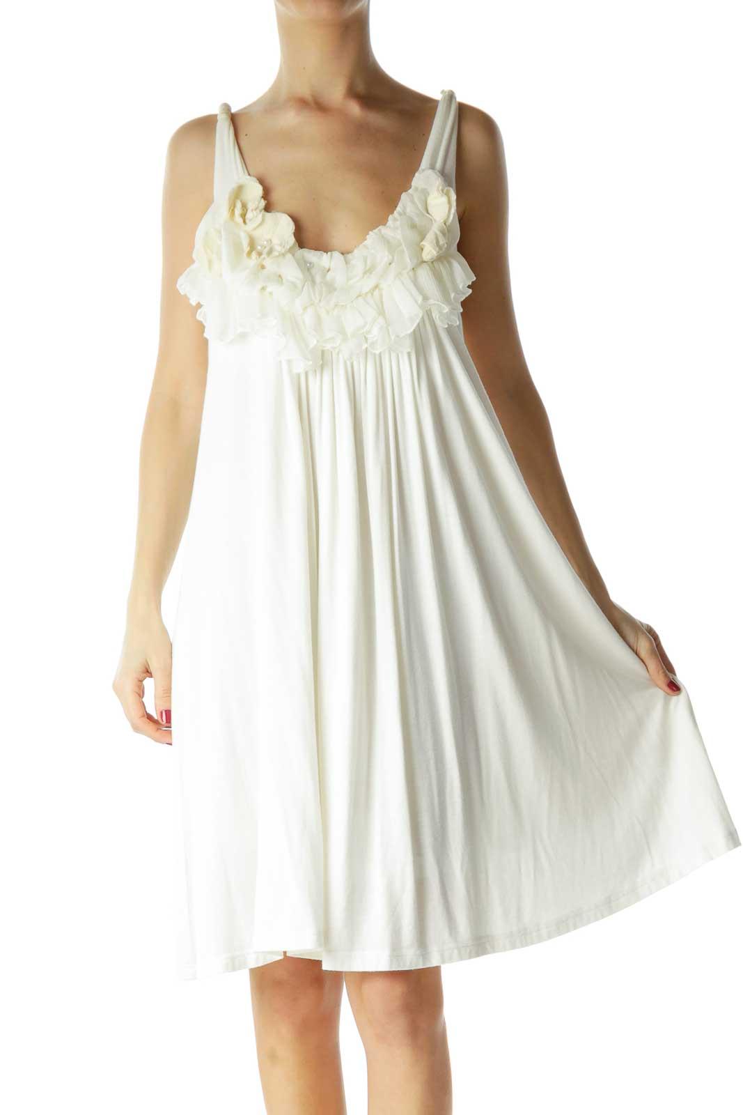 Cream Ruffled Tent Dress Front