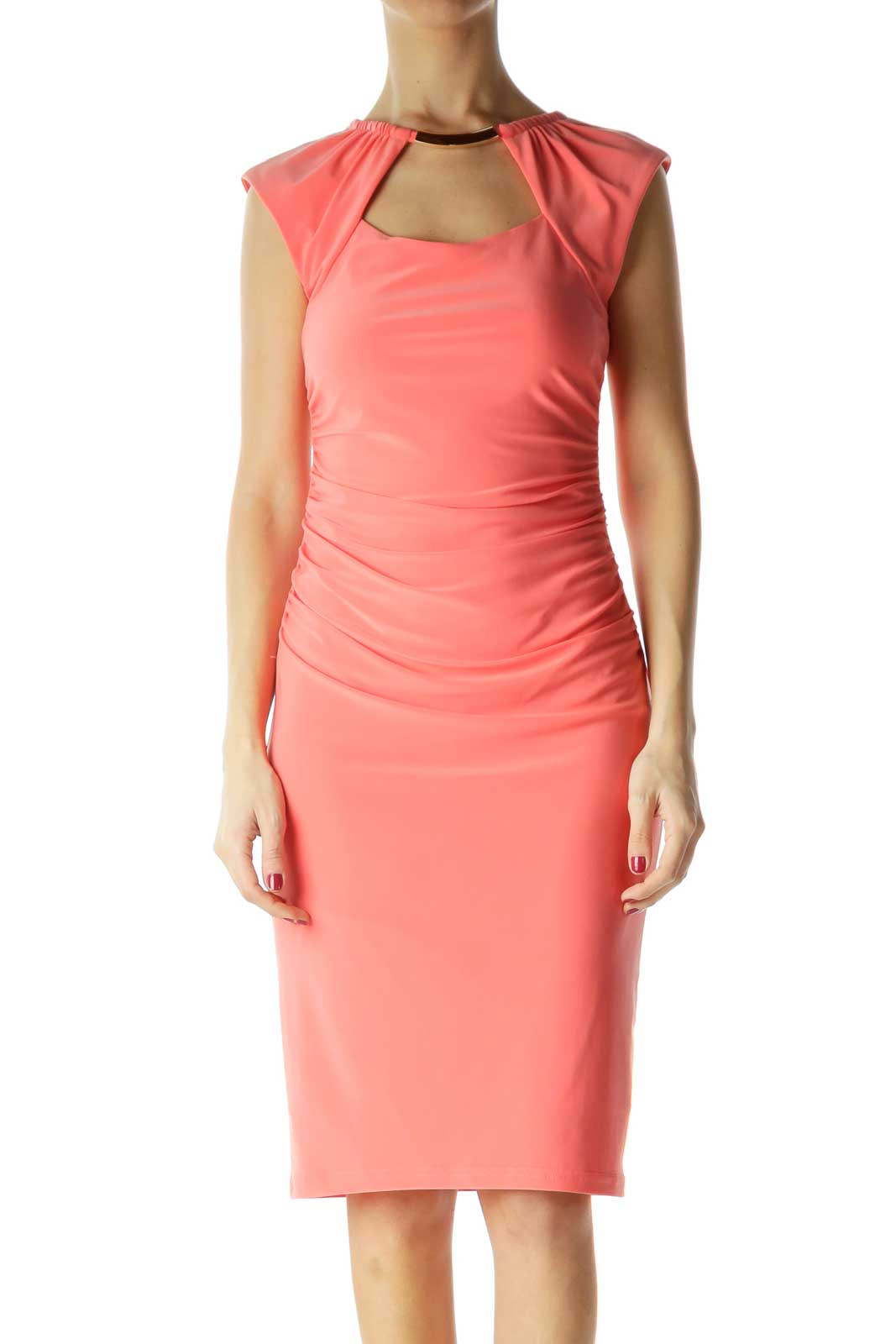 Pink Ruched Sleeveless Dress Front