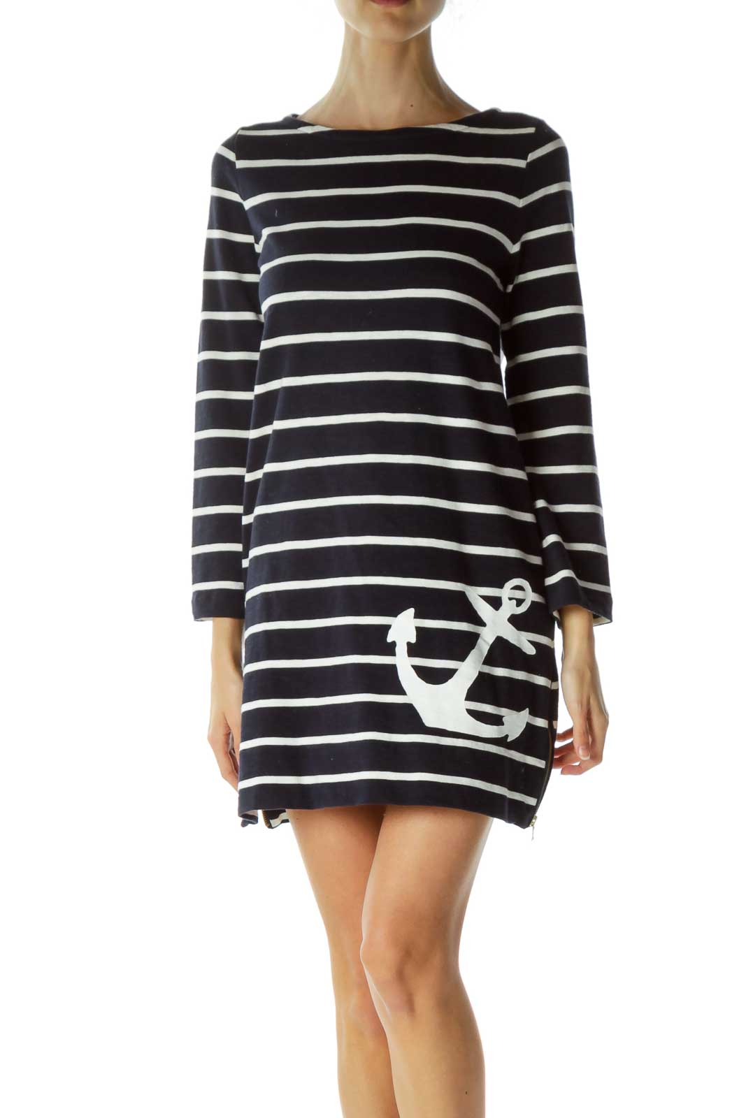 Navy Striped Knit Dress with Anchor Front
