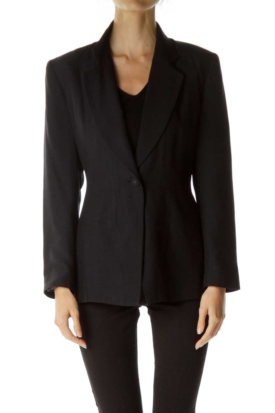 Black Soft Single Button Blazer Front