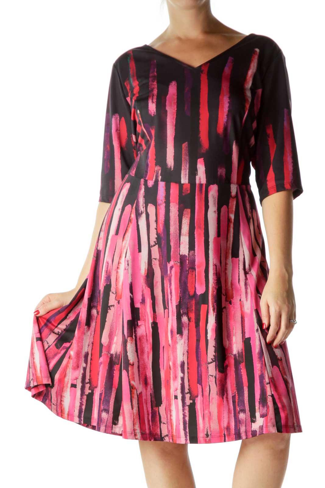 Pink Printed V-Neck Day Dress Front
