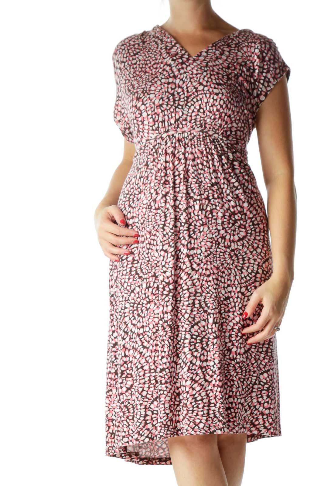 Pink Printed Empire Waist Jersey Dress Front