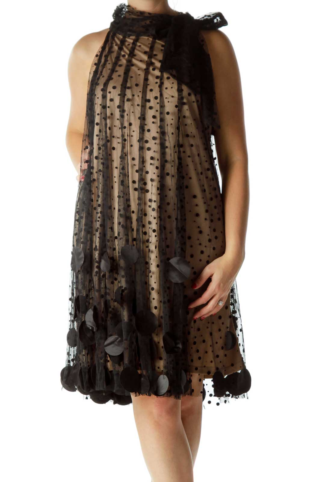 Black Sheer Lace Cocktail Dress Front