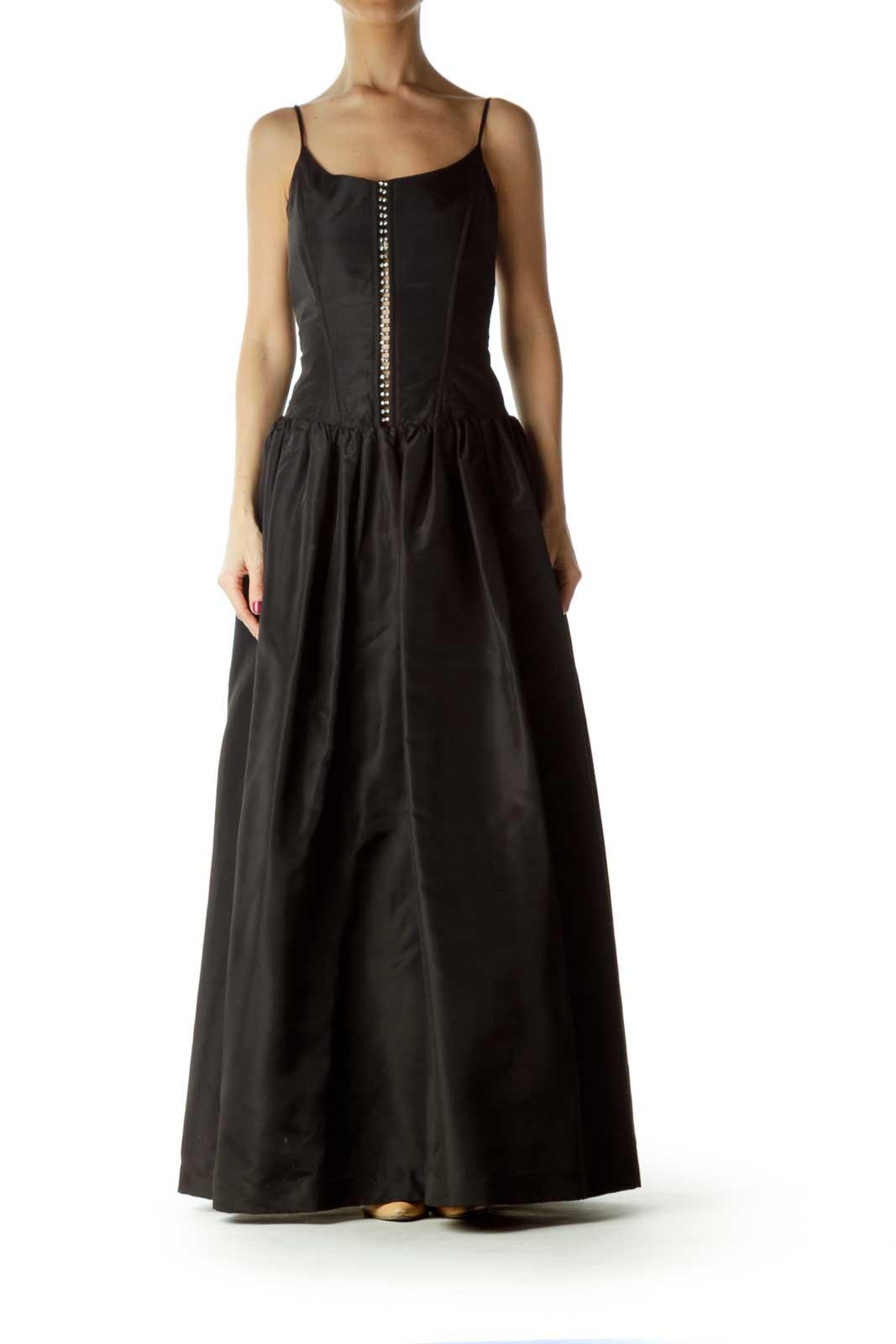 Black Spaghetti Strap Ball Gown Front