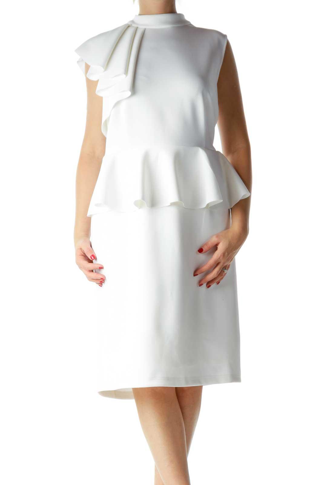 White Sleeveless High Neck Cocktail Dress Front