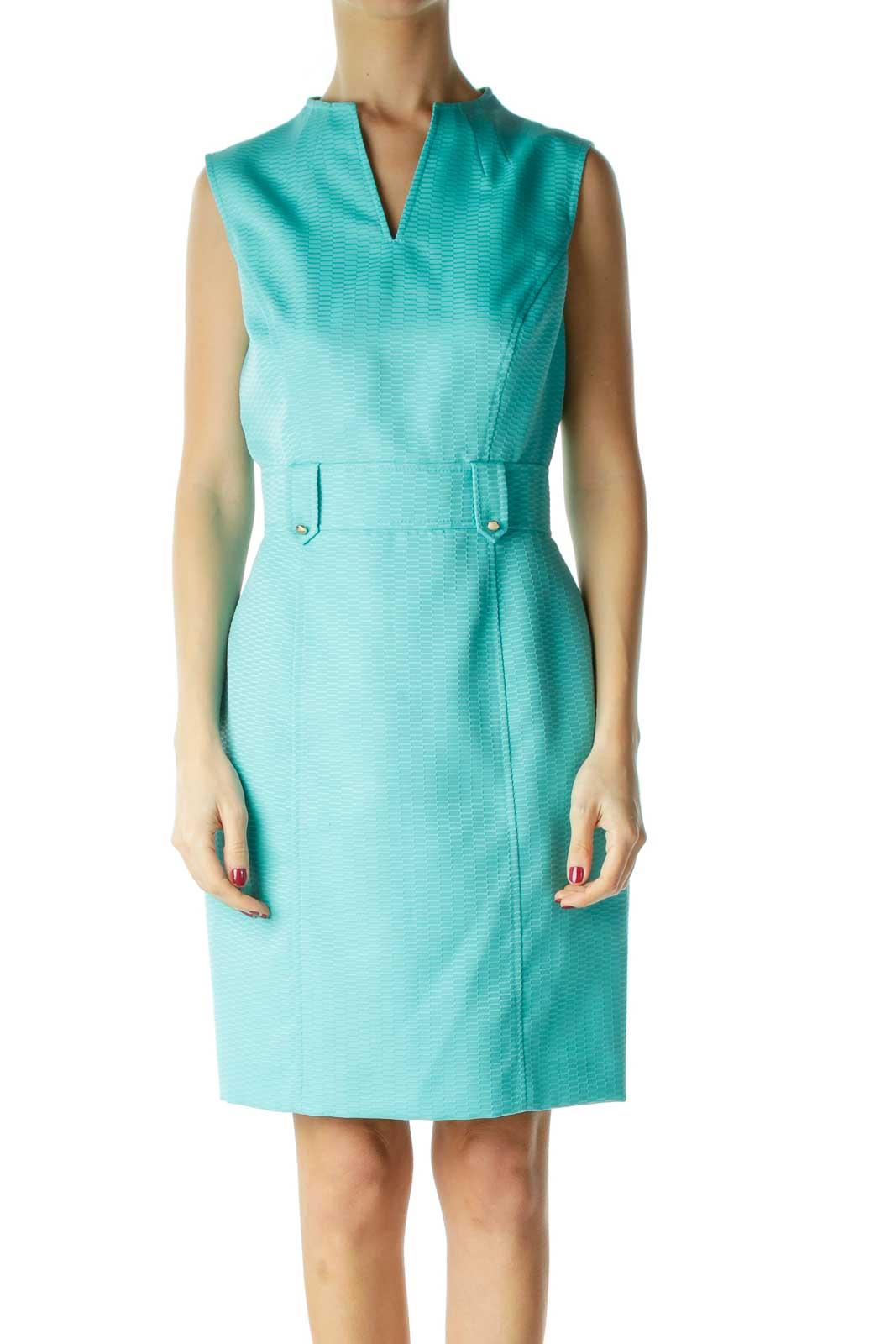 Blue V-Neck Belted Work Dress Front