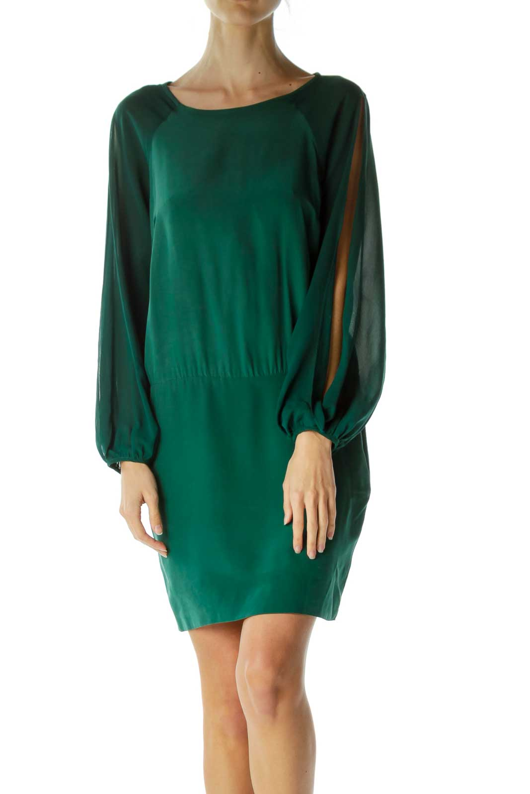 Green Long Sleeve Cut-Out Cocktail Dress Front